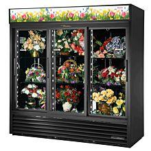 "True GDM-69FC-HC-LD 78"" Triple Slide Glass Door Refrigerated Floral Case"