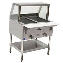 "Cookline Steam Table GST2-SG2 31"" 2 Wells Gas With Sneezeguard"
