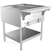 "Prepline GST2 31"" Two Pan Gas Steam Table with Undershelf - Open Well"