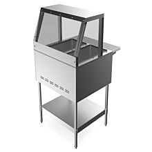 """Prepline GST2-SG2 31"""" 2 Pan Gas Steam Table with Sneeze Guard and Undershelf - Open Well"""