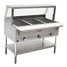 "Cookline Steam Table GST3-SG3 45"" 3 Wells, Gas With Sneezeguard"