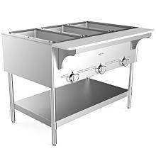 "Prepline GST-3OW 44.4"" Three Pan Gas Steam Table with Undershelf - Open Well"