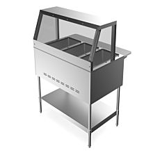 """Prepline GST3-SG3 45"""" 3 Pan Gas Steam Table with Sneeze Guard and Undershelf - Open Well"""