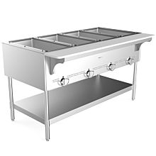 """Prepline GST-4OW 58.5"""" Four Pan Gas Steam Table with Undershelf - Open Well"""