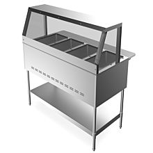 """Prepline GST4-SG4 59"""" 4 Pan Gas Steam Table with Sneeze Guard and Undershelf - Open Well"""