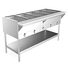 """Prepline GST5 72"""" Five Pan Gas Hot Food Steam Table with Undershelf - Sealed Well"""