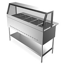 """Prepline GST5-SG5 73"""" 5 Pan Gas Steam Table with Sneeze Guard and Undershelf - Open Well"""