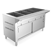 """Prepline GSTC60-4 60"""" Four Pan Gas Hot Food Steam Table with Enclosed Base and Sliding Doors - Sealed Well"""