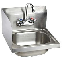 "16"" Stainless Steel Wall Hung Hand Sink with Faucet, LEFT SIDE SPLASH"