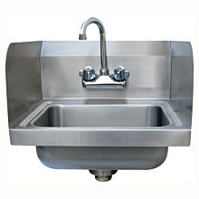 "16"" Stainless Steel Wall Hung Hand Sink with Faucet, 2 SIDE SPLASHES"