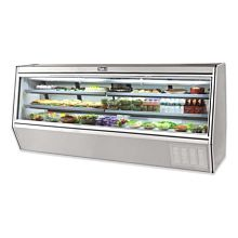 "Leader HDL118M 118"" Refrigerated Slanted Glass Raw Meat Deli Case with Gravity Coil Refrigeration, with 2 Shelves, High, ETL-S"
