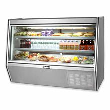 "Leader HDL60M 60"" Refrigerated Slanted Glass Raw Meat Deli Case with Gravity Coil Refrigeration, with 2 Shelves, High, ETL-S"