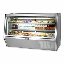 "Leader HDL72M 72"" Refrigerated Slanted Glass Raw Meat Deli Case with Gravity Coil Refrigeration, with 2 Shelves, High, ETL-S"