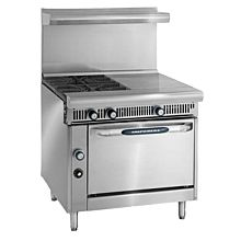 """Imperial IHR-2-1HT 36"""" Two Open Burners One 18""""W Hot Top with Standard Oven"""
