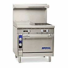 """Imperial IHR-G18-2 36"""" Stainless Steel Griddle Top Manual Controls Gas Spec Series Heavy Duty Range"""