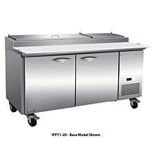 """IKON IPP71-4D 71"""" Two Door Refrigerated Pizza Prep Table, 9 Pans, Four Drawer"""