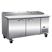 "IKON IPP71 71"" Two Door Refrigerated Pizza Prep Table, 9 Pans"