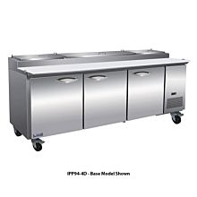 """IKON IPP94-4D 94"""" Three Door Refrigerated Pizza Prep Table, 12 Pans, Four Drawer"""