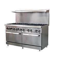 "Ikon IR-10-60 60"" 10 Burner, 2 Static Oven, Commercial Gas Range"