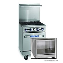 "Imperial IR-2-G12-XB 24"" Gas Restaurant Range with 12"" Griddle and 2 Burners with Open Cabinet"