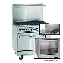 "Imperial IR-2-G24-XB 36"" Gas Restaurant Range with 2 Open Burners 24"" Griddle and Open Cabinet"