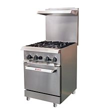 "Ikon IR-4-24 24"" 4 Burner, 1 Static Oven, Commercial Gas Range"