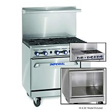 """Imperial IR-4-G12-XB 36"""" Gas Restaurant Range with 4 Open Burners 12"""" Griddle and Open Cabinet"""