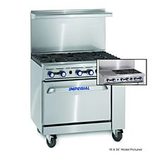 """Imperial IR-4-G12 36"""" Gas Restaurant Range with 4 Open Burners 12"""" Griddle and Standard Oven"""