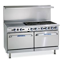 """Imperial IR-6-G24 60"""" Gas Restaurant Range with 6 Open Burners, 24"""" Griddle, 2 Standard Ovens"""