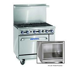"""Imperial IR-6-XB 36"""" Gas Restaurant Range with 6 Open Burners and Open Cabinet"""
