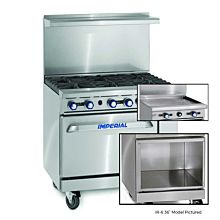 """Imperial IR-G36-XB 36"""" Gas Restaurant Range with Griddle and Open Cabinet"""