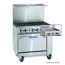 """Imperial IR-G36 36"""" Gas Restaurant Range with Griddle and Standard Oven"""