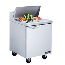 """Kool-It KST-27-1 27"""" Refrigerated Salad / Sandwich Prep Table - Open with Food"""