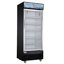 "Dukers LG-430F 25"" One Section Glass Swing Door Upright Showcase Merchandiser Refrigerator - 15.1 Cu. Ft."