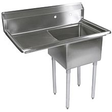 "39"" 1 Compartment Sink with 18"" x 18"" Bowl & Left Drainboard"