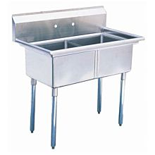 """41"""" 2 Compartment Sinks with 18"""" x 21"""" Bowls & No Drainboard"""