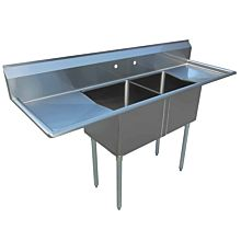 """80"""" 2 Compartment Sinks with 20"""" x 20"""" Bowls & Both Side Drainboard"""