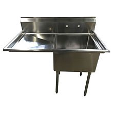 "43"" 1 Compartment Sink with 20"" x 20"" Bowl & Left Drainboard"