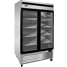 "Atosa MCF8703ES 54"" Freezer Merchandiser With bottom-mount self-contained refrigeration , 2 self-closing hinged glass doors with lock"