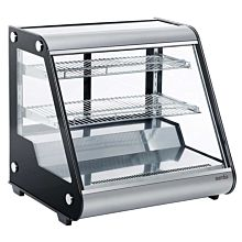 """Marchia MHC121 27"""" Heated Stainless Steel Countertop Display Case with Front Slanted Glass"""