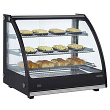 """Marchia MHC131 27"""" Heated Stainless Steel Countertop Display Case with Front Curved Glass"""