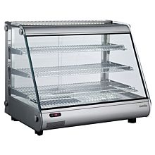 """Marchia MHC161 34"""" Heated Stainless Steel Countertop Display Case with Front Slanted Glass"""