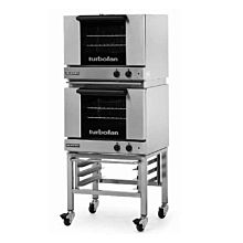 Moffat Turbofan E22M3 Electric Half Size Manual Double Deck Convection Oven with Stand - 120V