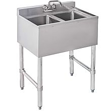 "Prepline PBAR2B24 19"" x 24"" Two Compartment Bar Sink, No Drainboard"