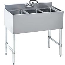 "Prepline PBAR3B36 19"" x 36"" Three Compartment Bar Sink, No Drainboard"