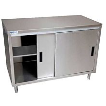 """Prepline PC-2472 24""""D x 72""""L  Stainless Steel Enclosed Base Work Table with Sliding Doors and Adjustable Shelf"""