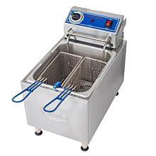"Globe PF16E 11"" Full Pot 16 lb. Countertop Electric Fryer"