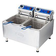 "Globe PF32E 22"" Dual Pot 32 lb. Countertop Electric Fryer"