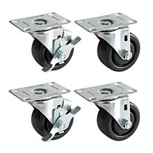 "Prepline PFC-3-SB 3"" Flat Plate Casters, 2 with Side Brake (Set of 4)"