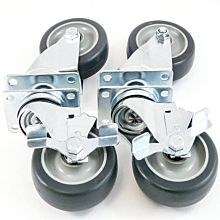 "4"" Flat Plate Caster with Side Brake, Set of 4"